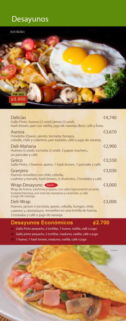 Menú Café Delicias