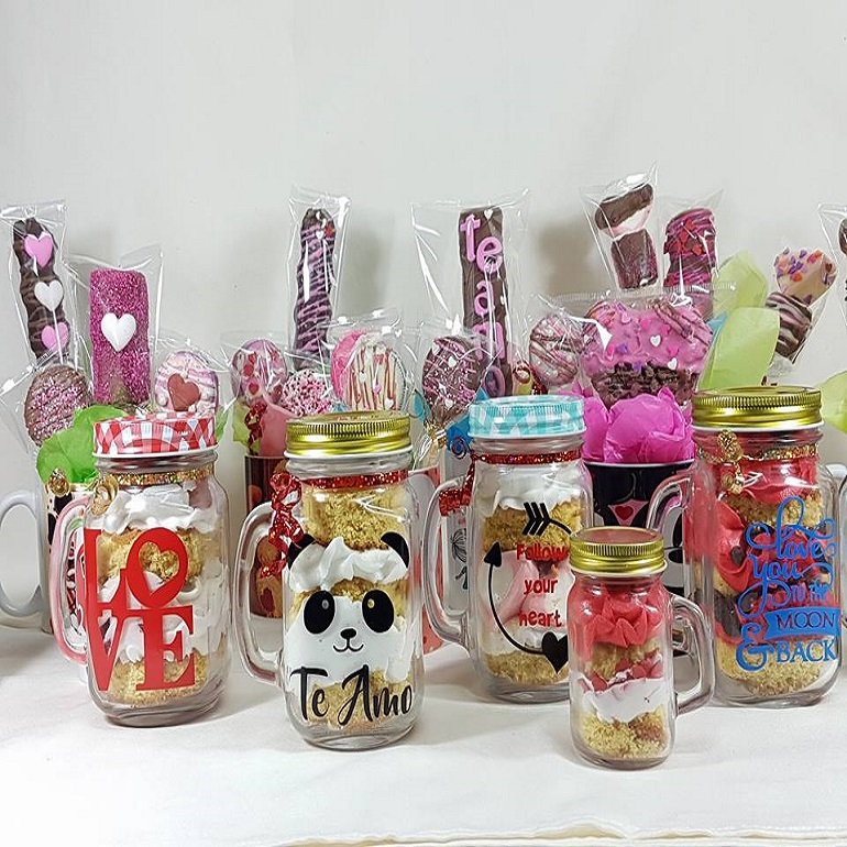 Also today I'll be introducing to you a new Holiday Pinterest Board that I can't wait for you to be a part of. but first let me get back to today's Valentine's Day Gift Idea!. These candy jars are not just super cute BUT you can make them under ten minutes!